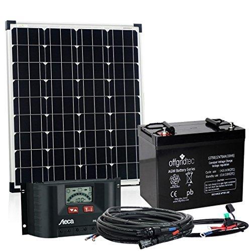 Offgridtec© 80 Watt Solar Set - BIG-M 80W 75Ah 12V inkl. Akku Laderegler und Kabel