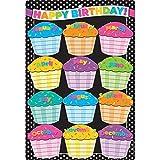 preschool birthday chart - Ashley Productions ASH91037 Smart Poly Chart, B&W Polka Dots Happy Birthday, Polypropylene (PP)/Steel, 13