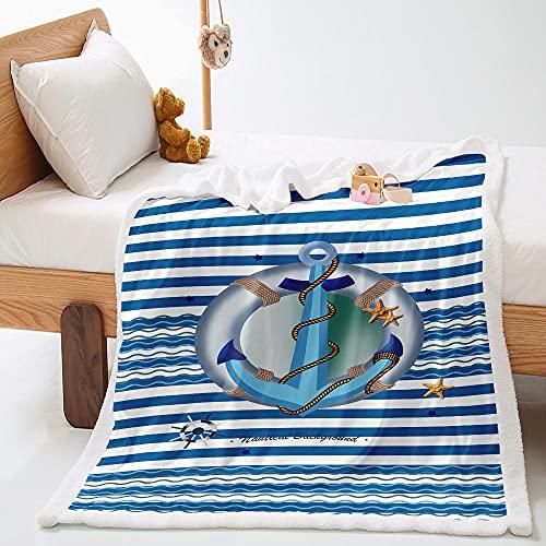PALZLH Mantas de franela de forro polar con ancla azul mullido, ultra suave, reversibles para sofá, cama, sofá y sofá, para todas las estaciones, no se desprenden 139,7 x 180,1 cm