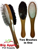 Bass Pet Grooming Combination Brush - 100% Boar Bristle & Bamboo Handle