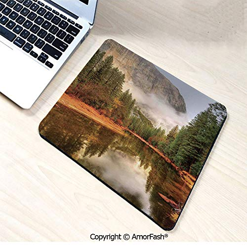 Heat Transferred Printing Waterproof Keyboard Pad,Mouse Mat for Gamer,Office & Home,8.3'x10.2',Yosemite,Trees Reflections on Merced River Yosemite Valley National Park in The Fall,Green