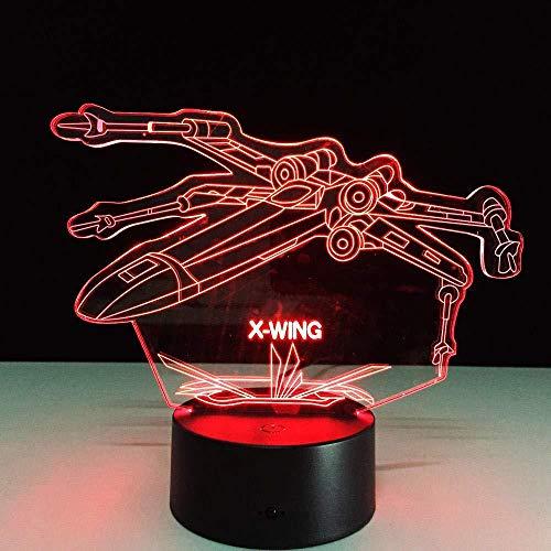 Boutiquespace Lámpara 3D Ilusión Led Luz Noche Star Wars X-Wing Fighter Lámpara de Mesa USB Touch 7 Gradient Party Direct Delivery
