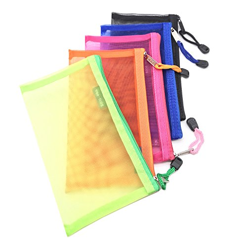 Pack of 5 pcs Multipurpose Nylon Mesh Cosmetic Bag Makeup Travel Cases Pencil Case Travel Organizers