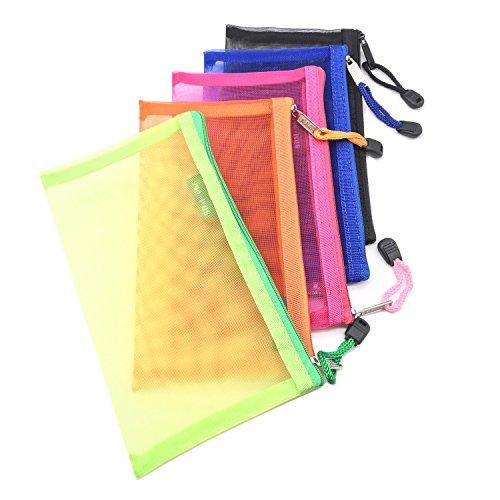 Pack of 5 pcs Multipurpose Nylon Mesh Cosmetic Bag Makeup Travel Cases Pencil Case