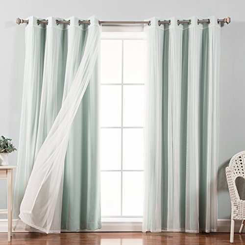 """Best Home Fashion uMIXm Tulle Sheer Lace & Solid Blackout 4 Piece Curtain Set – Stainless Steel Nickel Grommet Top (52"""" W x 96"""" L – Each Panel, Mint)"""