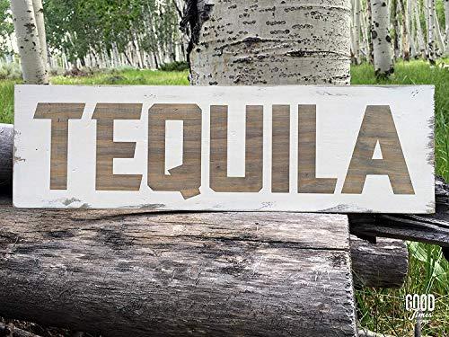 Not Branded Tequila, letrero de madera rústica, decoración de bar 862298