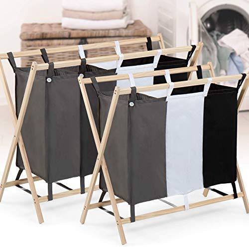 Wäschesortierer - 3 Fächer aus Stoff, dreifarbig, faltbar, Gestell aus Holz, stabil, 128 L Volumen, Größe (L/B/H): 76,5/40/72 cm - Wäschebehälter, Wäschebox, Wäschekorb, Wäschesammler für Kleidung