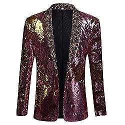 Pink + Gold Color Conversion Shiny Sequins Blazer