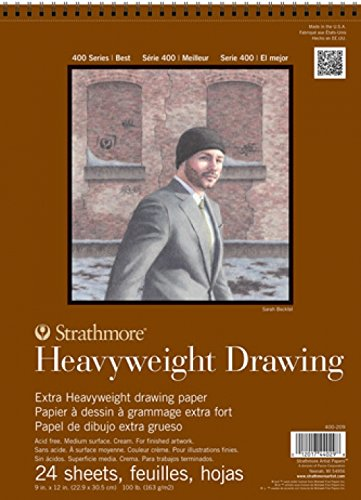 Strathmore 400 Series Heavyweight Drawing Pad, Medium Surface, 8'x10' Wire Bound, 24 Sheets