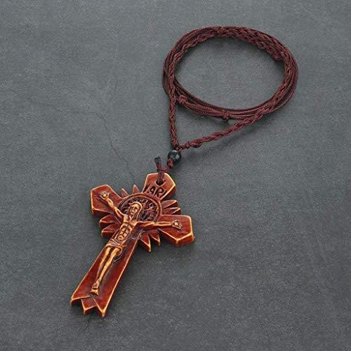 Collar de crucifijo cruzado con cadena Regalo Collar de la Cruz religiosa católica crucifijo Jesús collares pendientes for los hombres mujeres joyería Cadenas Cuerda de la oración (Metal Color:) Colla