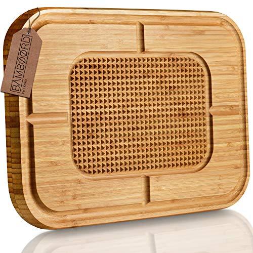 LYKKA® Premium Bambus SCHNEIDEBRETT   Holzbrett mit Saftrille & Rutschfester Schneidefläche für die Küche   Hochwertiges massiv Cutting Board aus Bambus Holz