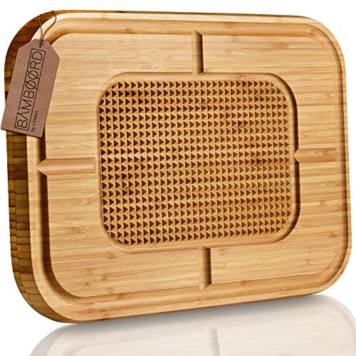 LYKKA® Premium Bambus SCHNEIDEBRETT | Holzbrett mit Saftrille & Rutschfester Schneidefläche für die Küche | Hochwertiges massiv Cutting Board aus Bambus Holz