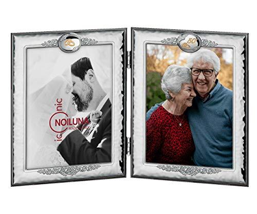 Noiluna Iconic Cornice Doppia Ieri e Oggi per 50 Anni Anniversario di Matrimonio, in Argento PVD per Un Regalo Davvero Romantico