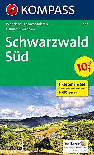 KOMPASS Wanderkarte Schwarzwald Süd: Wanderkarten-Set mit Radrouten. GPS-genau. 1:50000 (KOMPASS-Wanderkarten, Band 887)