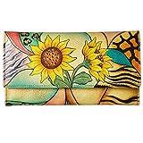 Anna by Anuschka Ladies Wallet & Key Chain (Checkbook Sunflower Safari)