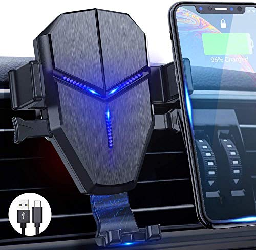 Wireless Car Charger Mount,Quntis 15W 10W 7.5W Qi Fast Charging Car Mount Auto Clamping Air Vent Cell Phone Holder Gravity Holder Compatible iPhone 11/11 pro max/X/XS/XR/8 Galaxy S10/S9/S8/Note 10/10