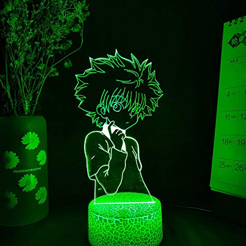 Lámpara de ilusión óptica 3D Zoldyck Killua Anime 3D lámpara Hunter x Hunter luz para niños, decoración LED, luz nocturna de cumpleaños, manga, gadget de mesa para niños, 7 colores táctiles