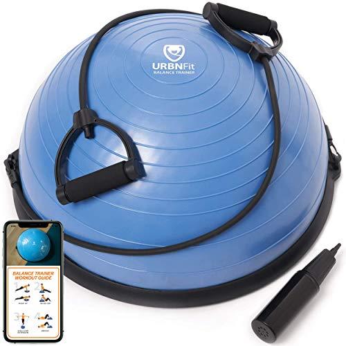 Balance Trainer–include fasce per resistenza di allenamento, yoga, palestra, allenamento, esercizi di riabilitazione–semisfera con fitness workout guide