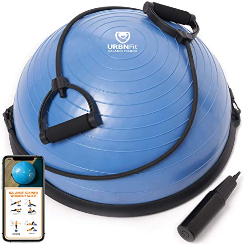 URBNFit Balance Trainer w/Resistance Bands, Pump & Guide - Half Balance Ball - Yoga, Fitness, Core Workout/Exercise, Therapy
