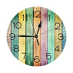 N/W Multicolored Wooden Boards Wall Clock 10 Round,- Battery Operated Wall Clock Clocks for Home Decor Living Room Kitchen Bedroom Office School