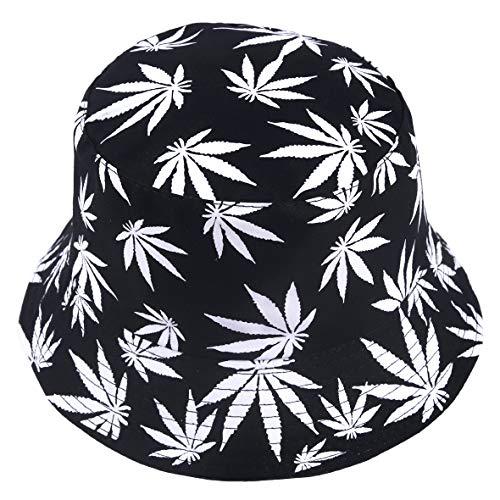 Cappello alla pescatora reversibile, unisex, stampa frutta, da esterno, protegge dal sole Foglia nera Taglia unica