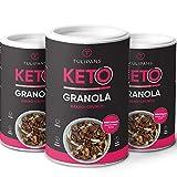 Tulipans Keto Kakao-Crunch Granola - Low Carb Knuspermüsli | 3 x 250 g | 80% weniger Kohlenhydrathe als herkömmliche Müslis | vegan | unterstützt ketogene Ernährung