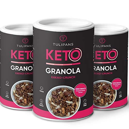 Tulipans Keto Kakao-Crunch Granola - Low Carb Knuspermüsli | 3 x 250 g | 80% weniger Kohlenhydrathe...