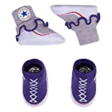 Converse Baby Girls Frilly Sock Booties-2 Pack (0-6 Months, Purple Chalk/Heather)
