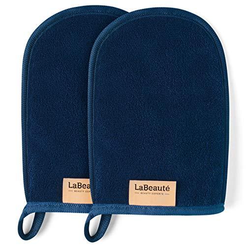 LaBeauté Abschminkhandschuh (2 Stück), Mikrofaser, waschbar und wiederverwendbar, Make-Up Entferner Handschuh, zur Gesichtsreinigung (20x13 cm, Navy-Dunkelblau)