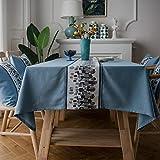 Xiaobyyao Nordische Baumwolle und Leinen kleine frische Leinen 90 * 90cm Blaue Steinblume,Wachstuchtischdecke Wachstuch Wachstischdecke Tischdecke abwaschbar Industry Style Modern