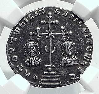 1000 TR BASIL II & CONSTANTINE VIII Ancient AR Miliaresio coin Ch VF NGC