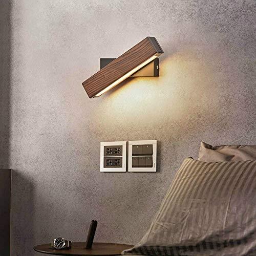 Van de Eaminator eenvoudig draaibaar voor nachtkastje, slaapkamer, warme wandlamp, nachtlampje, grootte: 21 cm (notenboom) goede kwaliteit (kleur: walnoot)