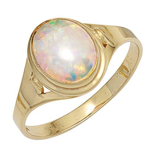 JOBO Damen-Ring aus 333 Gold mit synthetischem Opal Größe 58