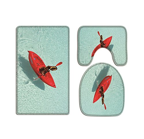 A.Monamour Red Boat Floating On Blue Ocean Sea Picture Print Soft Flannel Cloth Washable Toilet Seat Covers Toilet Lid Covers Cushions Pads Skidproof Bath Mat Rug for Toilet Accessories