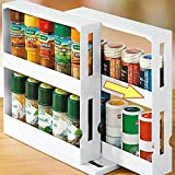 2 Tier Kitchen Spice Organizer Rack Multi-Function Rotating Storage Shelf Slide Kitchen Bottle Container Tool