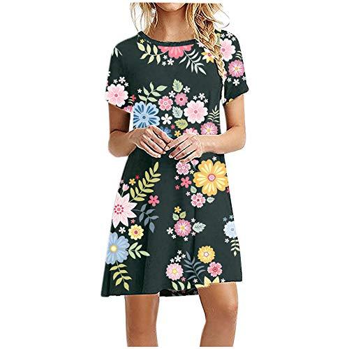 Vestidos de verano para mujer, vestido casual de manga corta, con estampado de cuello redondo, manga corta, suelta, mini vestidos de fiesta, vestido de playa, vestidos de cóctel, vestidos de mujer