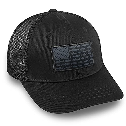 American Fish Flag Fishing Hats - Fishing Gear for Men - Snapback Trucker Hats Perfect for Outdoor Activities and Daily Use