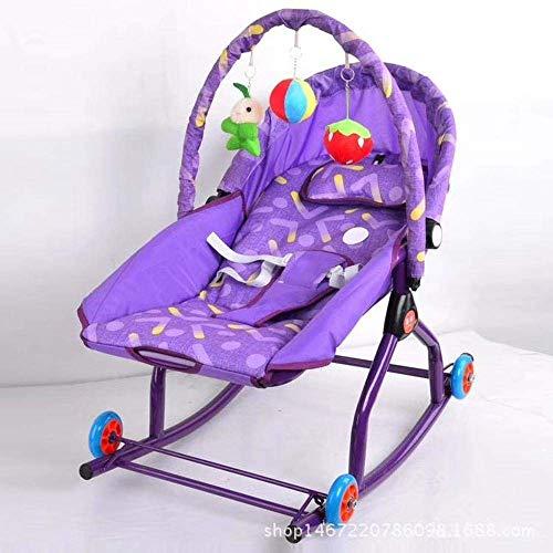 Elise Sillas Gorila oscilación Comedor de bebé y balancines Multifuncional luz Silla de oscilación del bebé Mecedora Azul sillón reclinable Plegable Silla sacudiendo eléctrica (Color : Purple)