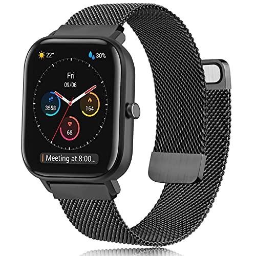 DEOU Correa Compatible con Amazfit Bip Amazfit GTS Amazfit GTS 2,Metal de Acero Inoxidable Pulseras de Repuesto para Xiaomi Huami Amazfit Bip Lite Youth/Amazfit GTR 42mm Watch(Negro)