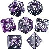 eBoot Dados Poliédricos Set de 7-Dados para Dungeons y Dragons con Bolsa Negra (Morado...
