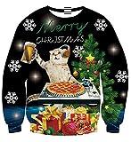3D Katze Weihnachten Rex Pullover Rundhals Sweatshirt