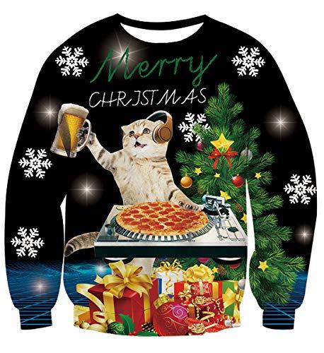 AIDEAONE Herren Weihnachten 3D Katze Pullover Rundhals Sweatshirt