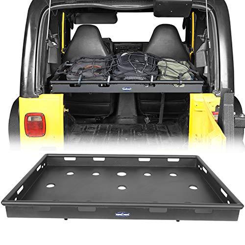 u-Box Wrangler Interior Storage Cargo Rack Basket Management Security Luggage Carrier w/Elastic Rope Net Compatible with Jeep Wrangler TJ 1997-2006