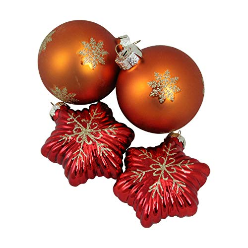 1649-4ct Shiny Red Stars Amber Orange Ball Glass Xmas Ornament Set – QQ05
