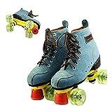 Roller skates Classic Quad Gamuza Patines artísticas para Adultos en línea y de la Juventud del Patinaje sobre Ruedas Botas para el Interior y Exterior de Formación Senderismo,39