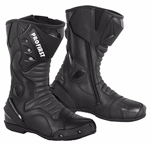 ProFirst Split Leder Wasserdicht Motorrad Motorrad Gepanzerte Stiefel Stiefel Schuhe Anti-Rutsch Rennsport | Schwarz / Black, EU 43 - 4