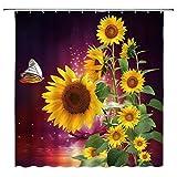 Sonnenblumen-Duschvorhang-Set, Schmetterling, Fantasie,Lotussterne, gelbe, grüne Blätter, Blumen, Natur, Sommer, violetter Hintergr&, Stoff, Badvorhang, 177 x 178 cm mit Haken