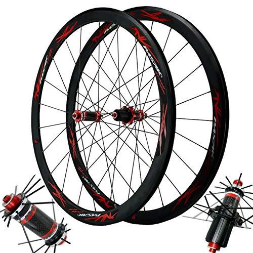 Carbono Ruedas de Bicicleta,Llanta MTB Doble Pared Frente 20/Trasero 24 Agujeros Liberación Rápida Freno C/V Juego de Ruedas Bicicleta 700C (Color : Red, Size : 700C)