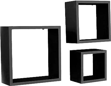 ROTUS Frente Set of 3 Floating Wall Shelves (Black)