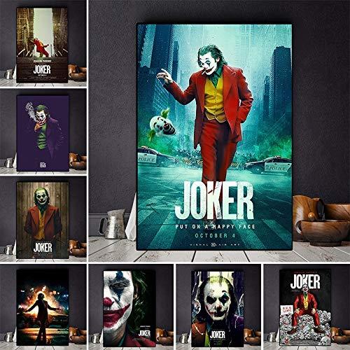 IHlXH Joaquin Phoenix Leinwanddrucke Der Joker Poster Film Cuadros Ölgemälde auf Poster Wandkunst Bild für Wohnzimmer Home Decor 50X70cm No Frame